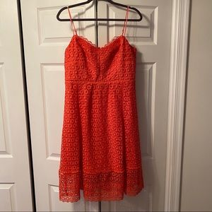 BNWOT J. CREW coral lace midi dress Sz 12